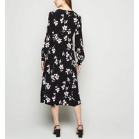 Black Floral Button Up Midi Dress New Look