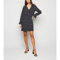 Black Spot Frill Trim Tunic Dress New Look