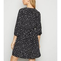 Black Abstract Spot Print Tie Neck Mini Dress New Look