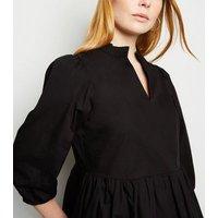 Black Poplin Frill Neck Mini Dress New Look