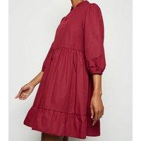 Burgundy Poplin Frill Neck Mini Dress New Look
