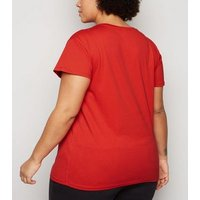 Curves Red Diamante Tape Paris Slogan T-Shirt New Look