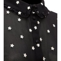 Black Daisy Embroidered Chiffon Shirt New Look