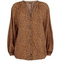 Brown Leopard Print V Neck Shirt New Look
