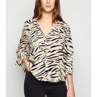 Off White Zebra Print Long Sleeve Shirt New Look