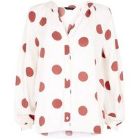 White Spot V Neck Shirt New Look