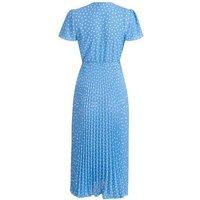Maternity Blue Spot Pleated Wrap Midi Dress New Look