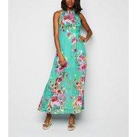 Blue Vanilla Mint Green Floral Pleated Maxi Dress New Look