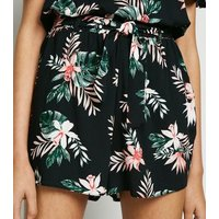 Girls Black Tropical Floral High Waist Shorts New Look