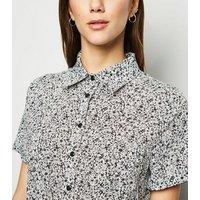 Blue Vanilla Black Ditsy Floral Shirt Dress New Look
