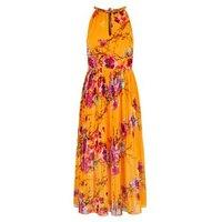 Blue Vanilla Orange Floral Pleated Midi Dress New Look