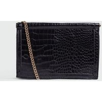 Black Faux Croc Chain Shoulder Bag New Look Vegan