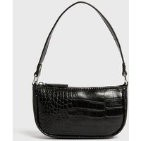 Black Faux Croc Mini Shoulder Bag New Look Vegan