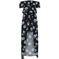 Girls Black Floral Maxi Playsuit New Look
