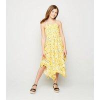 Girls Yellow Daisy Hanky Hem Midi Dress New Look