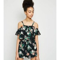 Girls Black Tropical Floral Bardot Top New Look