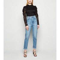Cameo Rose Black Lace Puff Sleeve Top New Look