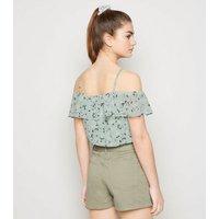Girls Mint Green Floral Frill Trim Chiffon Top New Look