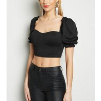 Cameo Rose Black Bustier Frill Crop Top New Look