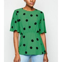 Green Spot Tie Back Top New Look