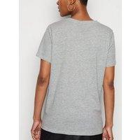 Grey Marl Grateful Calm Kind Slogan T-Shirt New Look