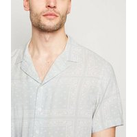 Pale Grey Tile Paisley Shirt New Look