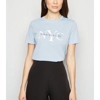 Pale Blue NYC Slogan T-Shirt New Look