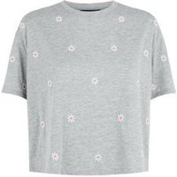 Grey Daisy Embroidered Boxy T-Shirt New Look