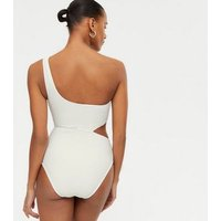 White Textured One Shoulder Swimsuit New Look