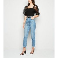 Cameo Rose Black Grid Mesh Puff Sleeve Top New Look