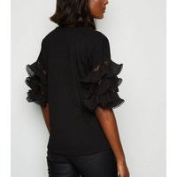 Cameo Rose Black Tiered Ruffle Sleeve T-Shirt New Look