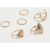 6 Pack Gold Crescent Rings New Look