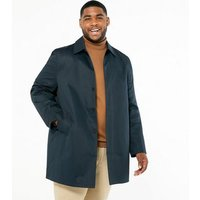 Plus Size Navy Collared Mac Jacket New Look