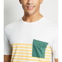 Only & Sons Green Stripe Colour Block T-Shirt New Look