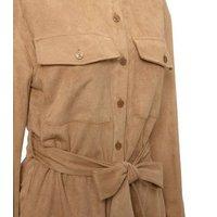 Camel Suedette Pocket Front Belted Shirt New Look