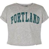 Girls Grey Portland Slogan T-Shirt New Look