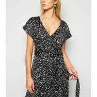 Black Satin Spot Ruffle Wrap Midi Dress New Look