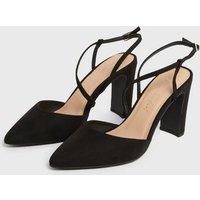 Black Asymmetric Strap Block Heel Court Shoes New Look Vegan