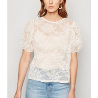 Cream Squiggle Mesh Puff Sleeve Top New Look