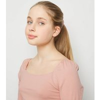 Girls Pale Pink Square Neck Puff Sleeve Top New Look