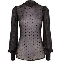 Black Mesh Flocked Heart Puff Sleeve Blouse New Look