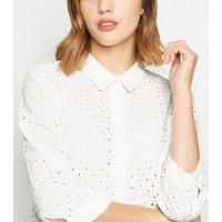 JDY White Broderie Shirt Dress New Look