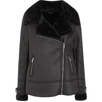 Tall Black Leather-Look Faux Fur Lined Aviator Jacket New Look