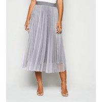 Petite Grey Glitter Mesh Pleated Midi Skirt New Look