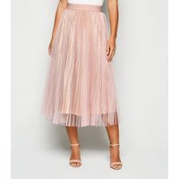 Petite Pale Pink Glitter Mesh Pleated Midi Skirt New Look