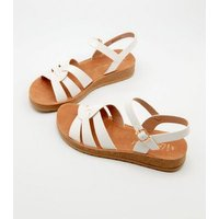 Wide Fit White Woven Strap Chunky Sandals New Look Vegan