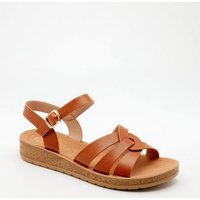 Wide Fit Tan Woven Strap Chunky Sandals New Look Vegan