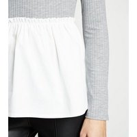 Grey Marl Ribbed High Neck 2 In 1 Top New Look