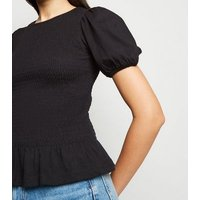 Black Shirred Peplum Hem T-Shirt New Look