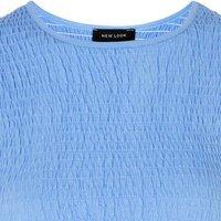 Blue Shirred Peplum Hem T-Shirt New Look